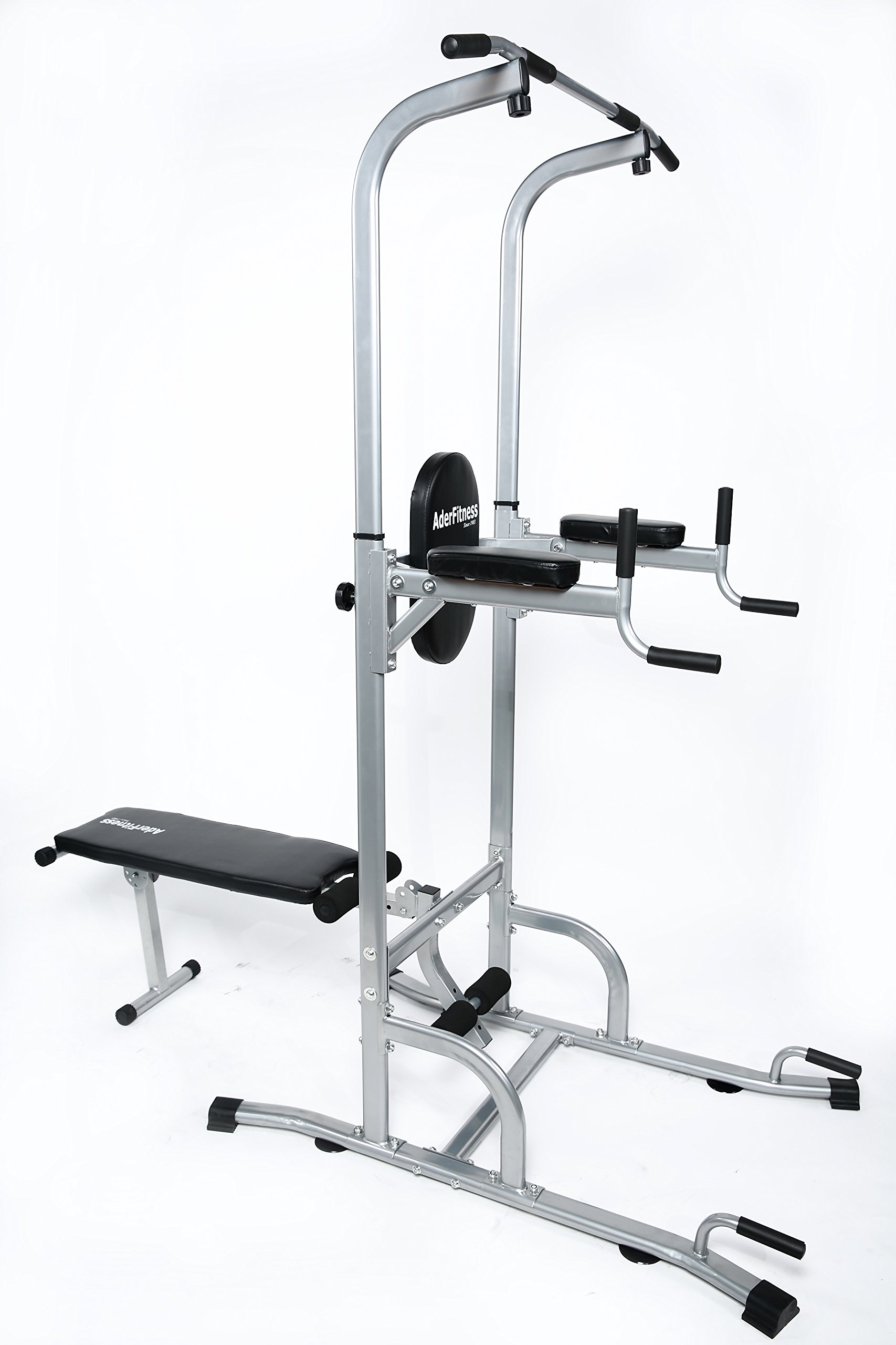 Ader Adjustable Muti-Function VKR Power Tower Chin/ Dip Ab Station w/ Sit Up Bench for Home Fitness