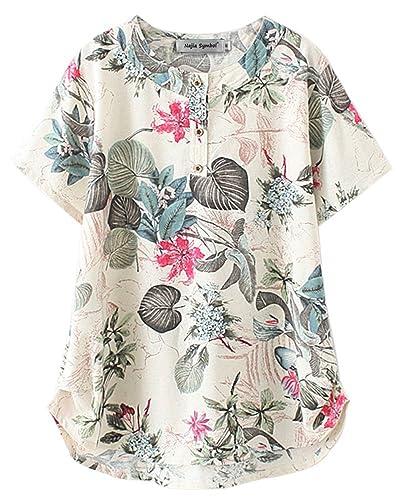 Najia Symbol - Camisas - Floral - Manga corta - para mujer