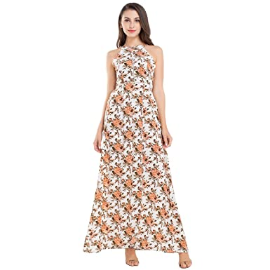 e78b601986 JTANIB Women s Halter Backless High Slit Floral Print Beach Party Summer Maxi  Dresses