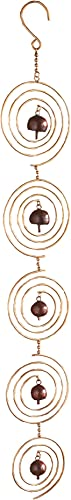 Ancient Graffiti Single Strand Brass Finish Bell Tapestry Circles Wall Hanging, 5 by 33