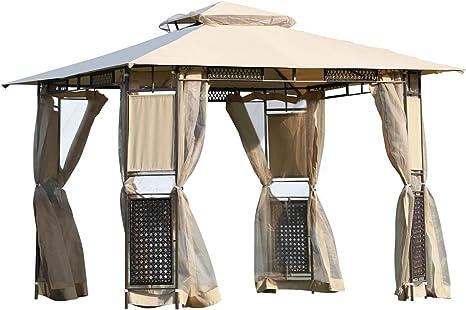 Outsunny - Carpa Barnum estilo colonial, doble tejado, mosquiteras extraíbles, 3 x 3 x 2,60 m, color arena