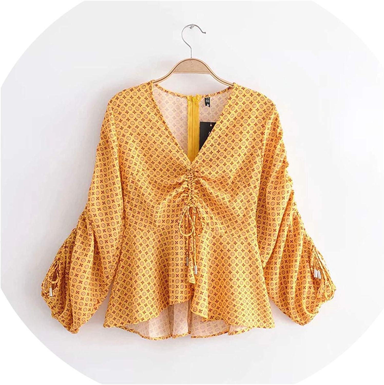Women Irregular Hem Printing Yellow Blouses Lantern Sleeve V Neck Summer Shirts Ruffles Drawstring Tops