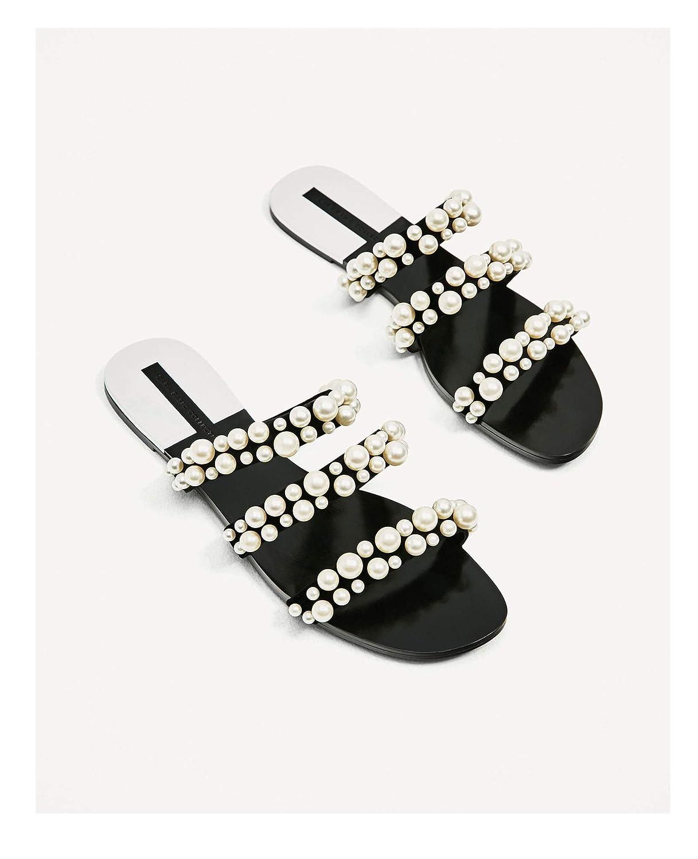 Black Zombie Jessica Women Summer Beach Party Dress shoes Pearl Sandals Thin Belt Roman Flat Women Flip Flops Casual Slippers