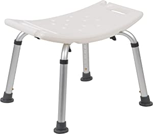 Flash Furniture HERCULES Series Tool-Free and Quick Assembly, 300 Lb. Capacity, Adjustable White Bath & Shower Chair with Non-slip Feet