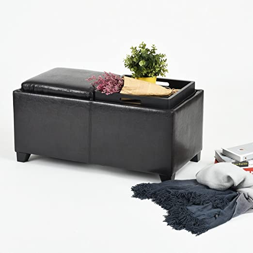 Dark Brown Bonded Leather Storage Bench Two Trays with Wood Legs