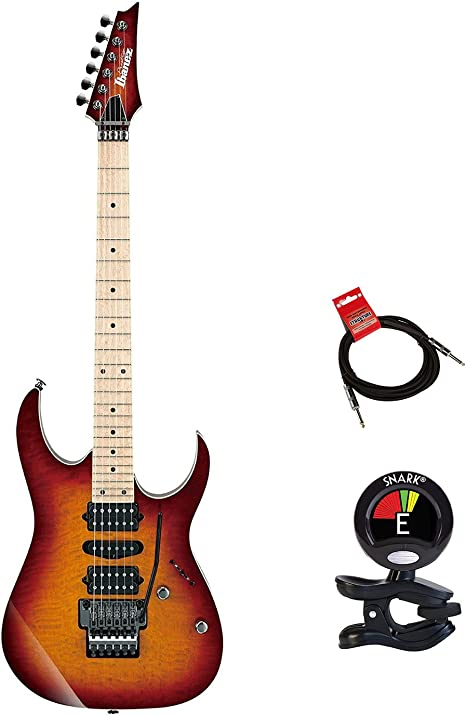 Ibanez rg657mskstb RG Prestige 6 cuerdas Guitarra eléctrica paquete en puesta de sol Burst con guitarras Clip On Sintonizador y instrumento Cable Bundle: Amazon.es: Instrumentos musicales