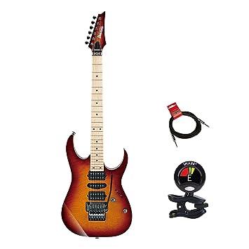 Ibanez rg657mskstb RG Prestige 6 cuerdas Guitarra eléctrica paquete en puesta de sol Burst con guitarras Clip On Sintonizador y instrumento Cable Bundle: ...