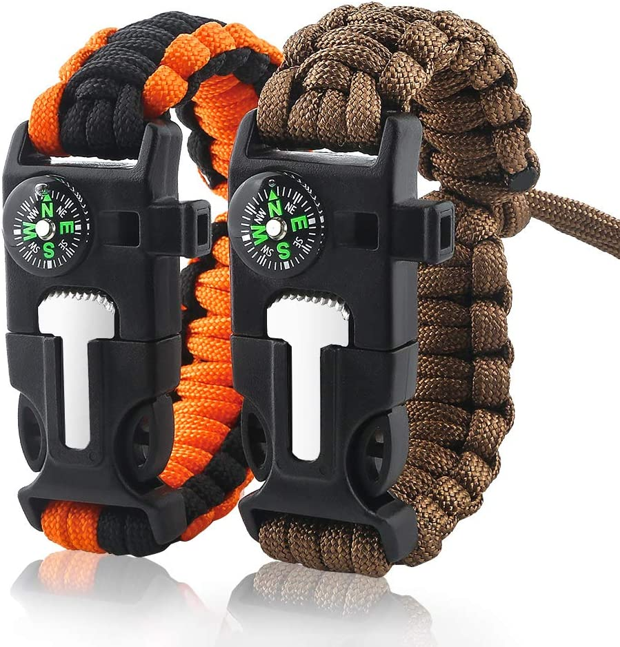 5X Adjustable Paracord Survival Bracelet alloy Buckle Compass Compass I7F5