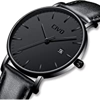 CIVO Men Watches Ultra Thin Minimalist Black Wrist Watch for Men Luxury Elegant Business Fashion Mens Watch Waterproof Date Calendar Casual Quartz Watches