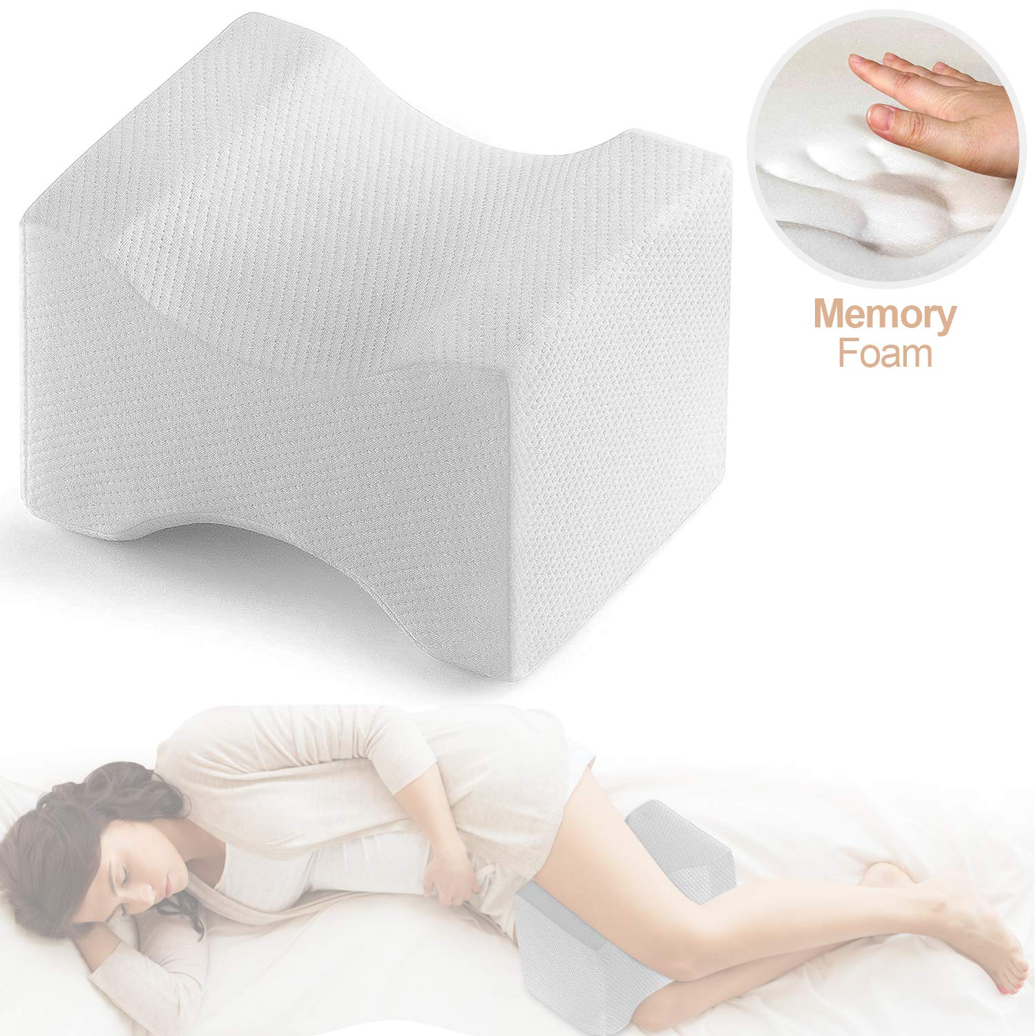 Trademark Supplies Knee Pillow Leg Positioner - Made from Memory Foam - Removable and Washable Cover - Promotes Better Sleep, Improve Blood Circulation & Proper Posture Alignment (Standard)