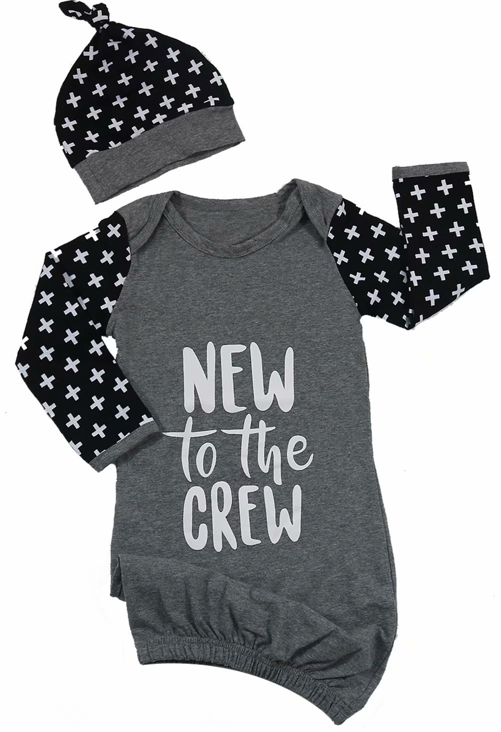 Newborn Boys Girls New to The Crew Letter Print Sleepsack Bag Coming Home Outfit with Hat Size 0-6 Months/Tag70 (Gray)