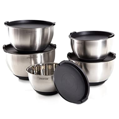 PriorityChef Top Rated Mixing Bowls With Lids, Thicker Stainless Steel Bowl Set With Non Slip Silicone Base and Large 5 Qrt Capacity