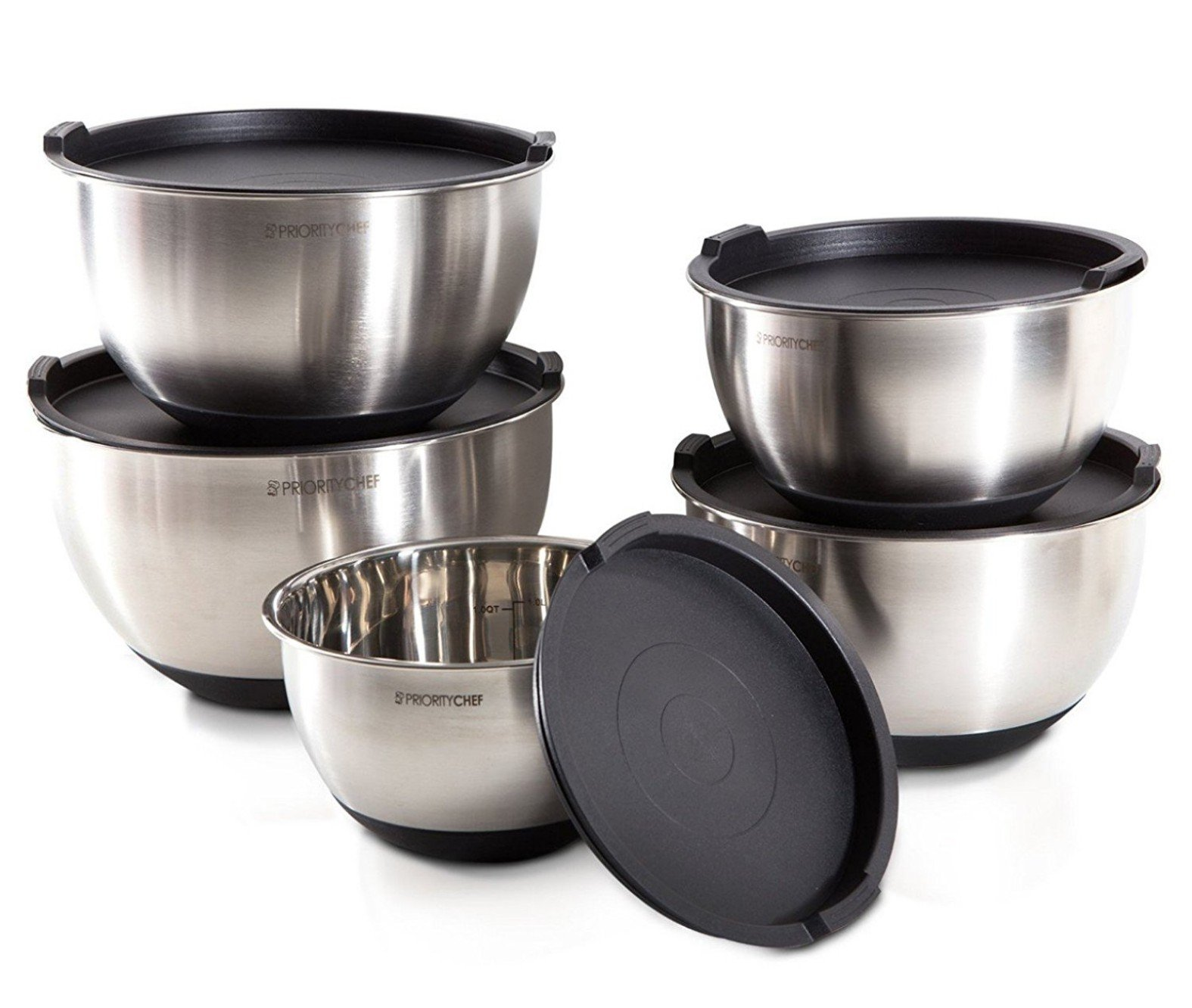 PriorityChef 5 Piece Mixing Bowls With Lids, Large 5 Quart Capacity, Stainless Steel, Non Slip Silicone Bottom, Stackable For Minimal Storage, Black Base by Priority Chef