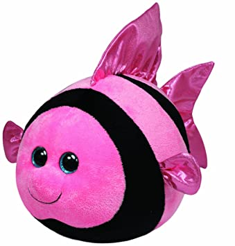 Ty - Peluche bola pez, 15 cm, color rosa (United Labels 38056TY)