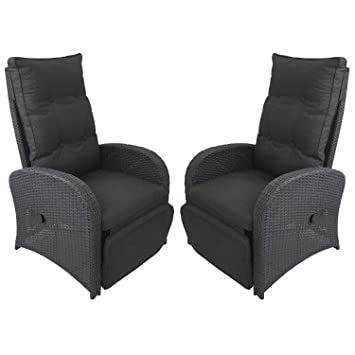 Lounge sessel rattan  Amazon.de: 2 Stück Poly Rattan Gartensessel Rattansessel ...
