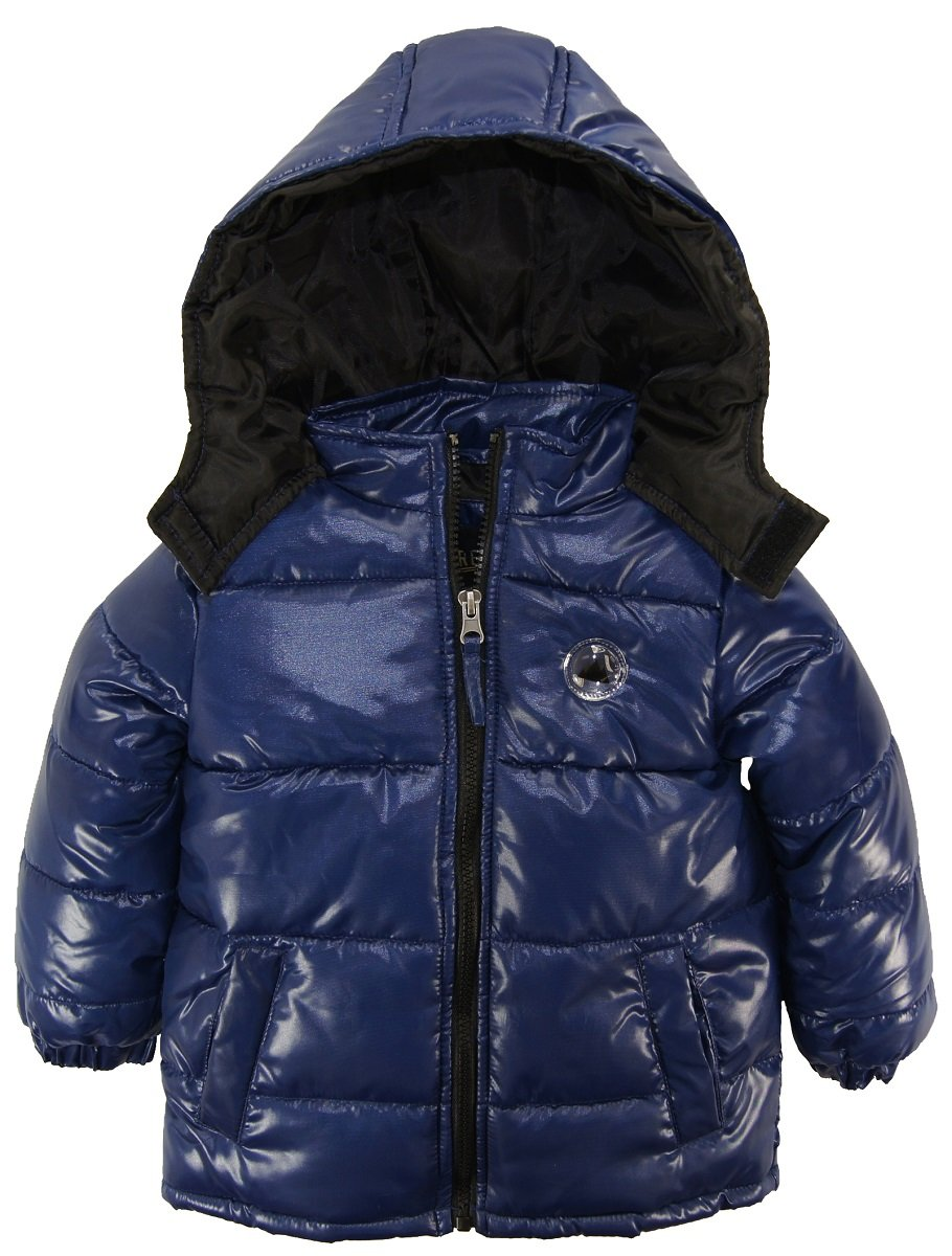 iXtreme Little Boys Down Alternative Hooded Winter Puffer Bubble Jacket Coat, Navy, 2T