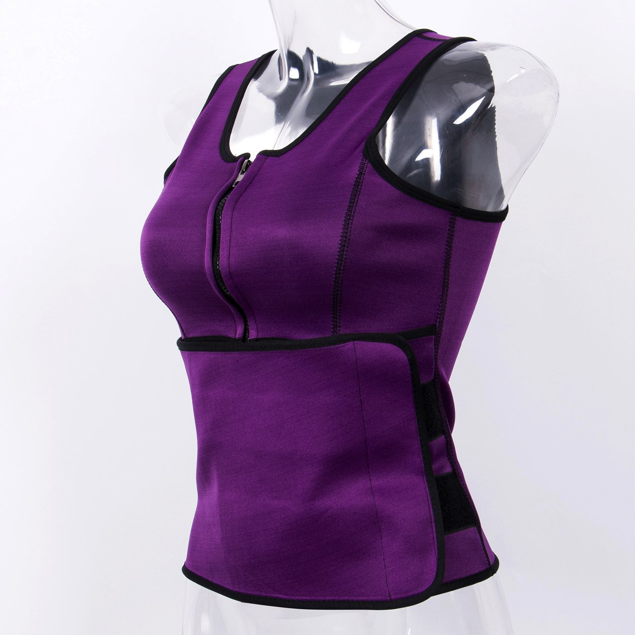 A AURA Women Sauna Suit Sweat Band and Vest Combined Waist Trimmer Vest Adjustable Waist Trimmer Belt Shapewear