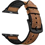 CASE U Rubber Hybrid Leather Band Strap Compatible with Apple Watch Series 4 44mm Series 3 Series 2 Series 1 42mm Sport Edition(Brown)