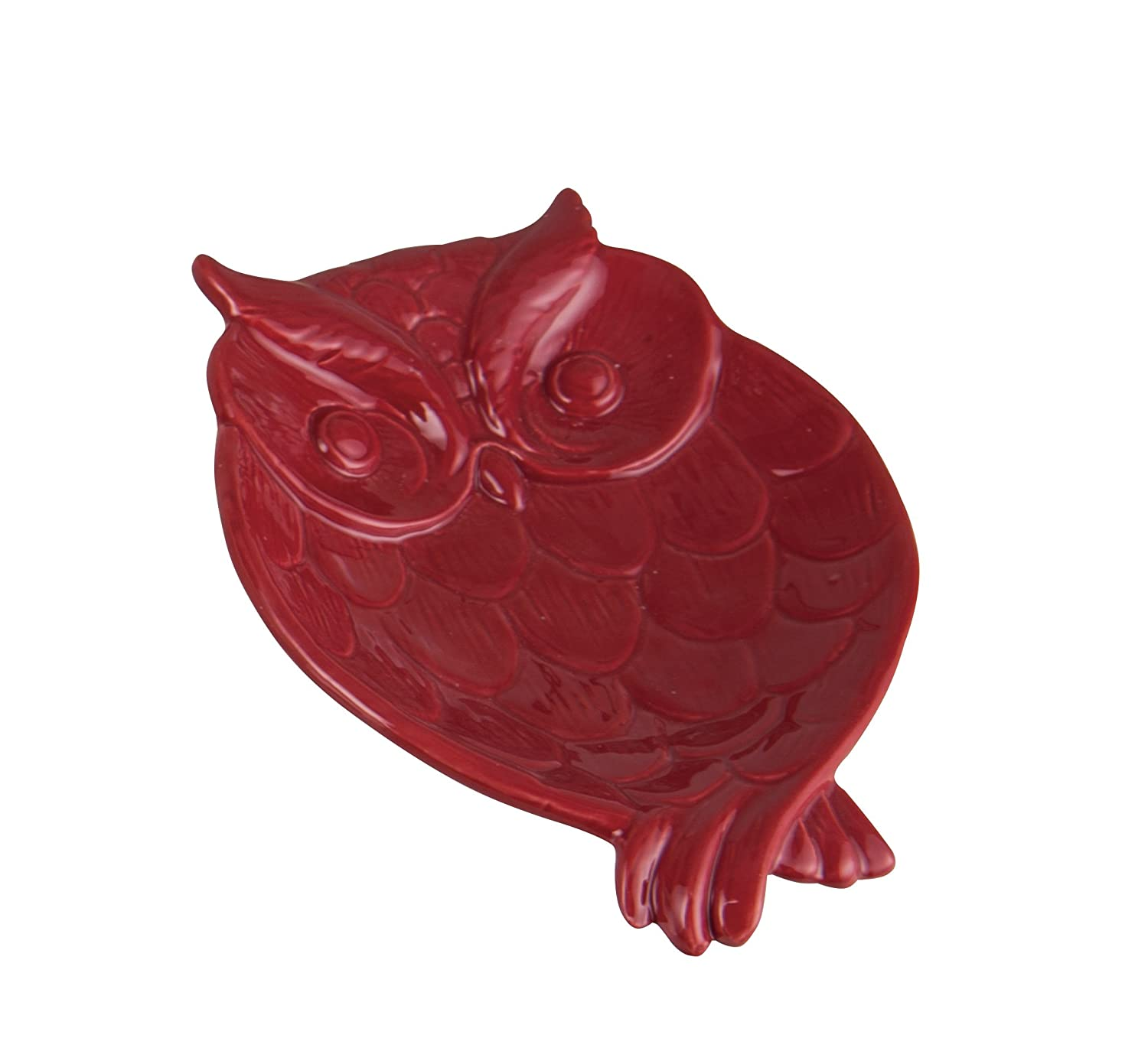 Crimson Red Embossed Barn Owl Shaped 7 x 5 Dolomite Ceramic Serving Snack Plate Transpac Imports
