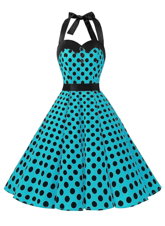 TALLA XXL. Dressystar Vestidos Corto Cuello Halter Estampado Flores y Lunares Vintage Retro Fiesta 50s 60s Rockabilly Mujer Blau Schwarz Dot XXL