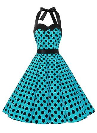 official photos 230b4 32142 GMV 0004 Vintage Tupfen Retro Cocktail Abschlussball Kleider 50er 60er  Rockabilly Neckholder Blue Black Dot XXL
