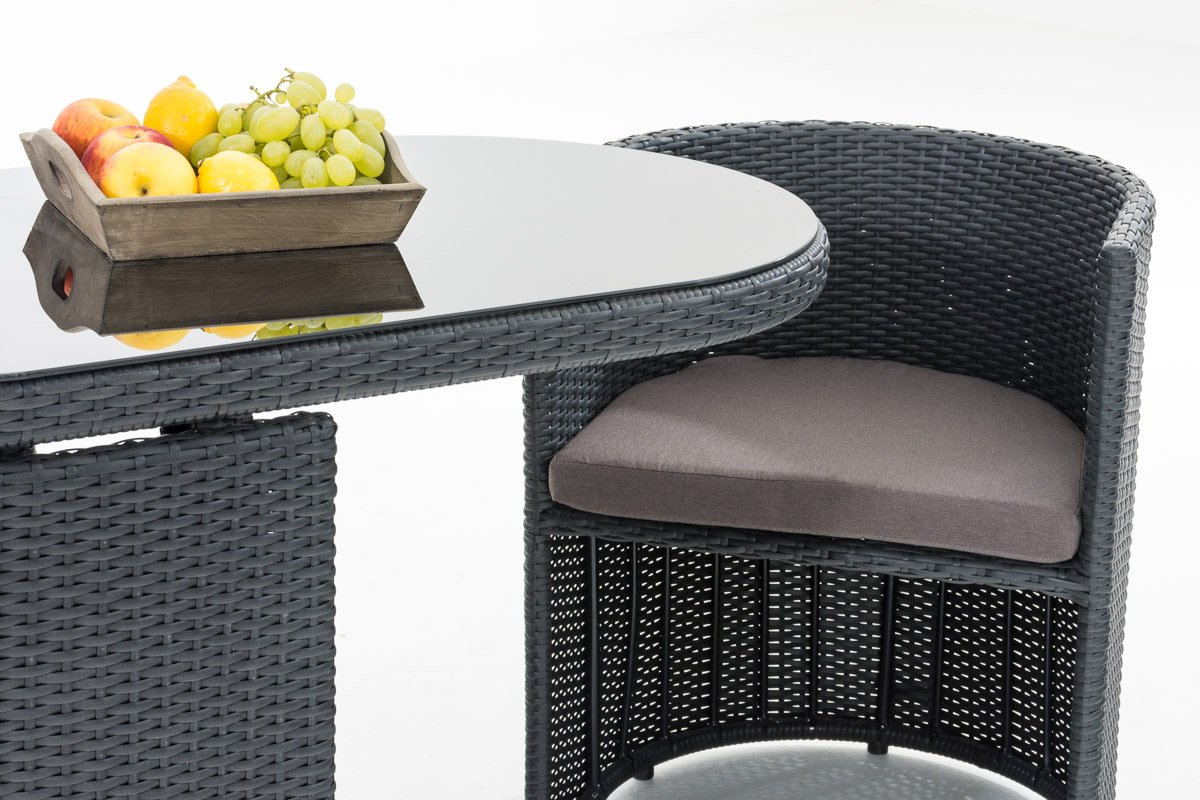 Balkonmöbel set platzsparend  CLP Poly-Rattan Furniture Set ALENA, 2 seats, alluminium frame ...