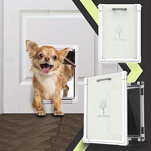 lesotc 2 Ways Locking Dog Door for Exterior Doors,Medium Large Sliding Doggie Door,Metal Training Doggy Cat Door Indoor,Plastic Freedom Pet Door with Aluminum Lining,Consolidate Soft Flap,Anti-Rust