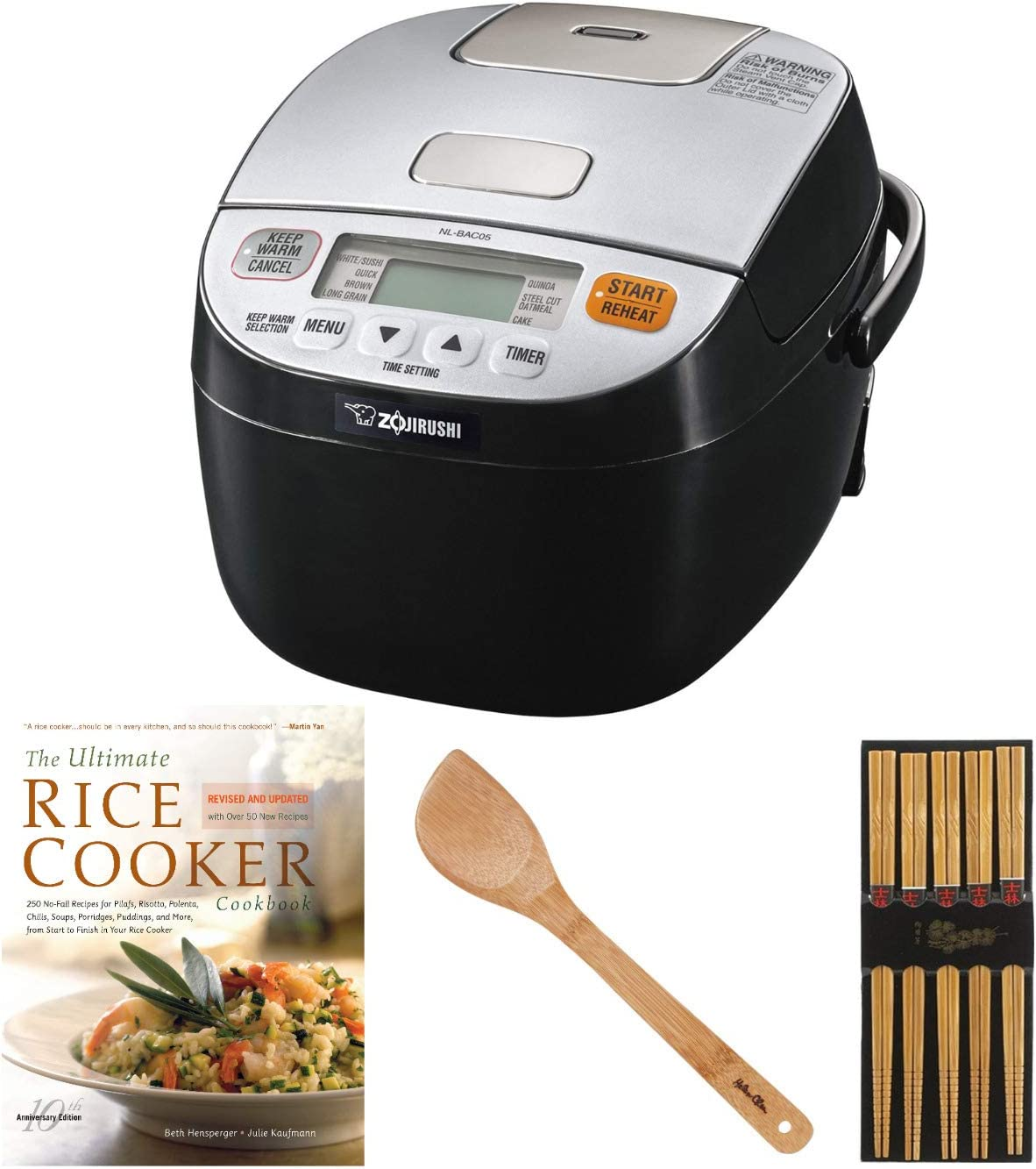 Zojirushi Micom Rice Cooker & Warmer (3-Cup/Silver Black) with Bamboo Spatula, Bamboo Chopsticks (5 Pairs) and Cookbook Bundle (4 Items)