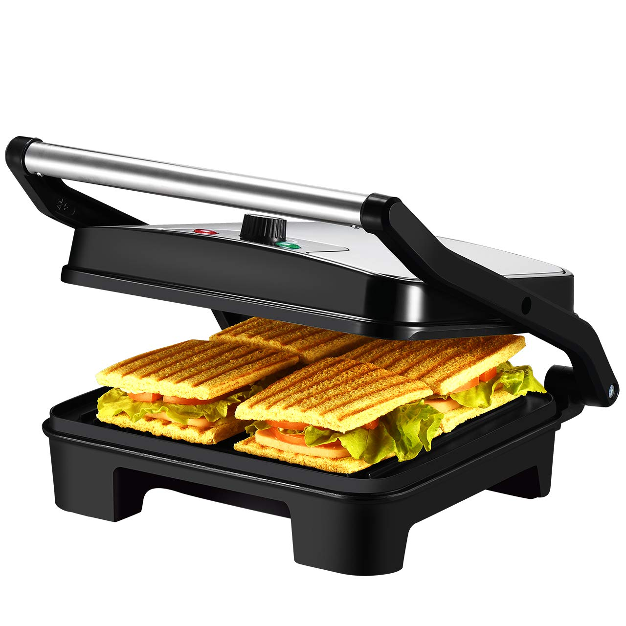 IKICH Temperature Control Panini Press, 4 Slice Sandwich Maker, Nonstick Panini Maker Grill with 3 Year Warranty, Extra Large Plate and Removable Drip Tray for Grilled Cheese, Chicken Breasts by IKICH