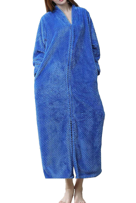 Sky_bluee DGGLIFE Women's Fleece Robe Bathrobe Flannel Texture Warm Long Sleepwear