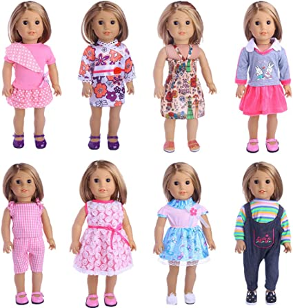 13 Items Girl Doll Clothes and Accessories for 18-inch Dolls HOAYO 6 Sets Doll Clothes Outfits for 18-Inch American Girl Dolls