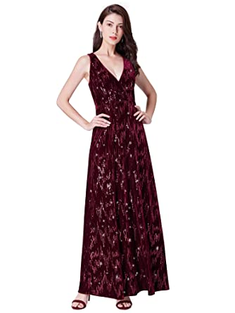 Ever Pretty Womens Double V Neck A Line Floor Length Velvet Evening DressesBurgandy 8UK
