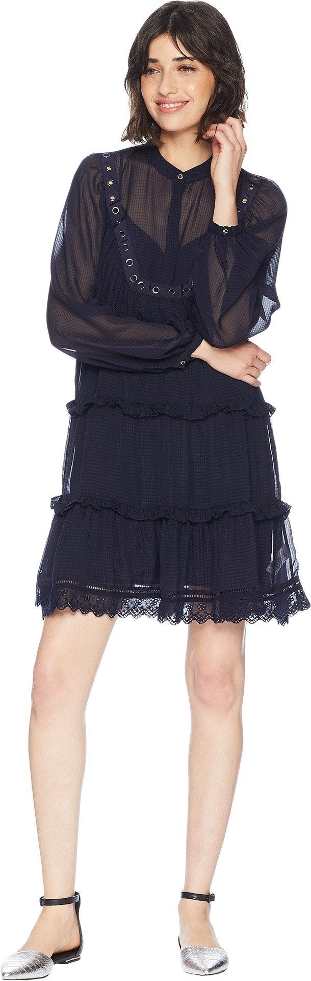 Juicy Couture Women's Seersucker Embroidered Trim Dress Zenith Petite/X-Small by Juicy Couture (Image #1)