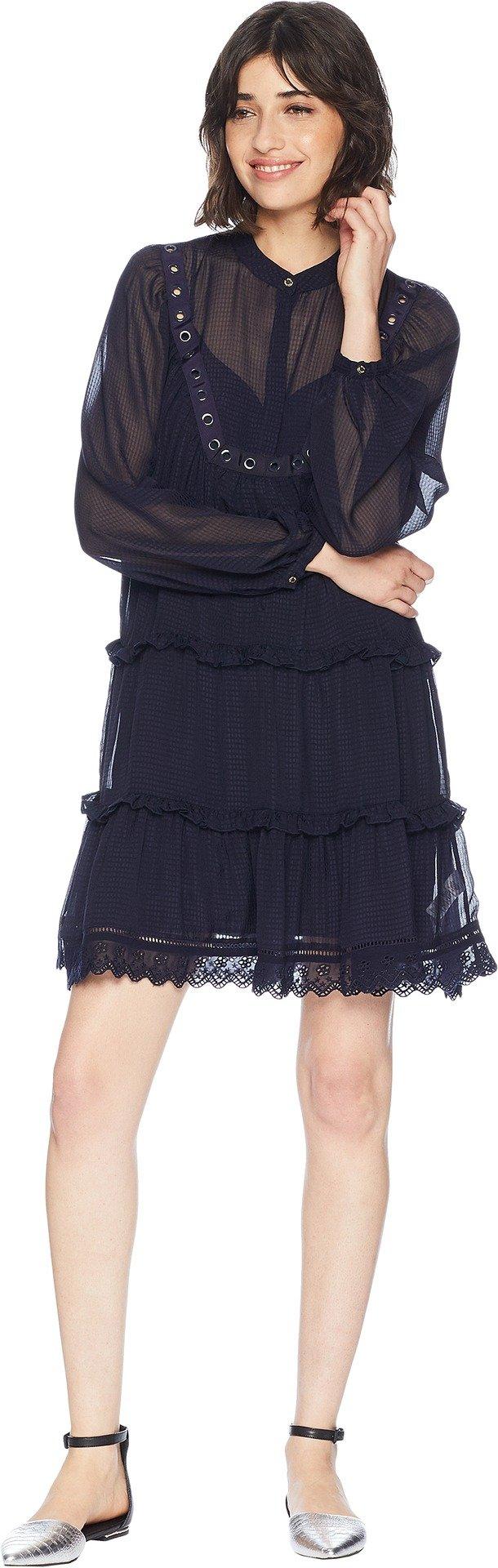 Juicy Couture Women's Seersucker Embroidered Trim Dress Zenith Petite/X-Small