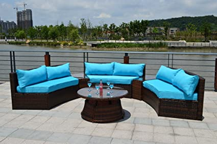 6 Piece Curved Outdoor Sofa 9 Ft. Sectional Patio Furniture Set   Resin  Wicker Rattan