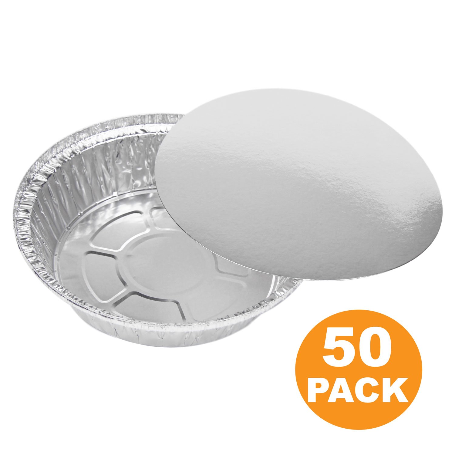 Round 7 Inch 24 oz, 1.5 lb, 0.75 Quart Disposable Aluminum Foil Pan Take Out Food Containers with Flat Board Lids, Steam Table Hot Cold Freezer Roasting Baking Oven Safe