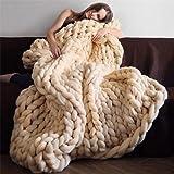 Burning Go 寒い16色6サイズに対する分厚いニットブランケットスーパー厚い分厚い毛布ウールの敷物大型手編み分厚いニットグレー低いゲージニットファッショナブルな冬のベッドカバー毛布暖かいショール対策 130 * 170センチメートル クリームイエロー