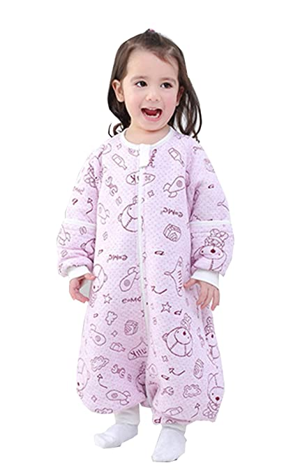 chils uessy Baby ganzjahres Saco de dormir de algodón 100% con mangas desmontables y pies