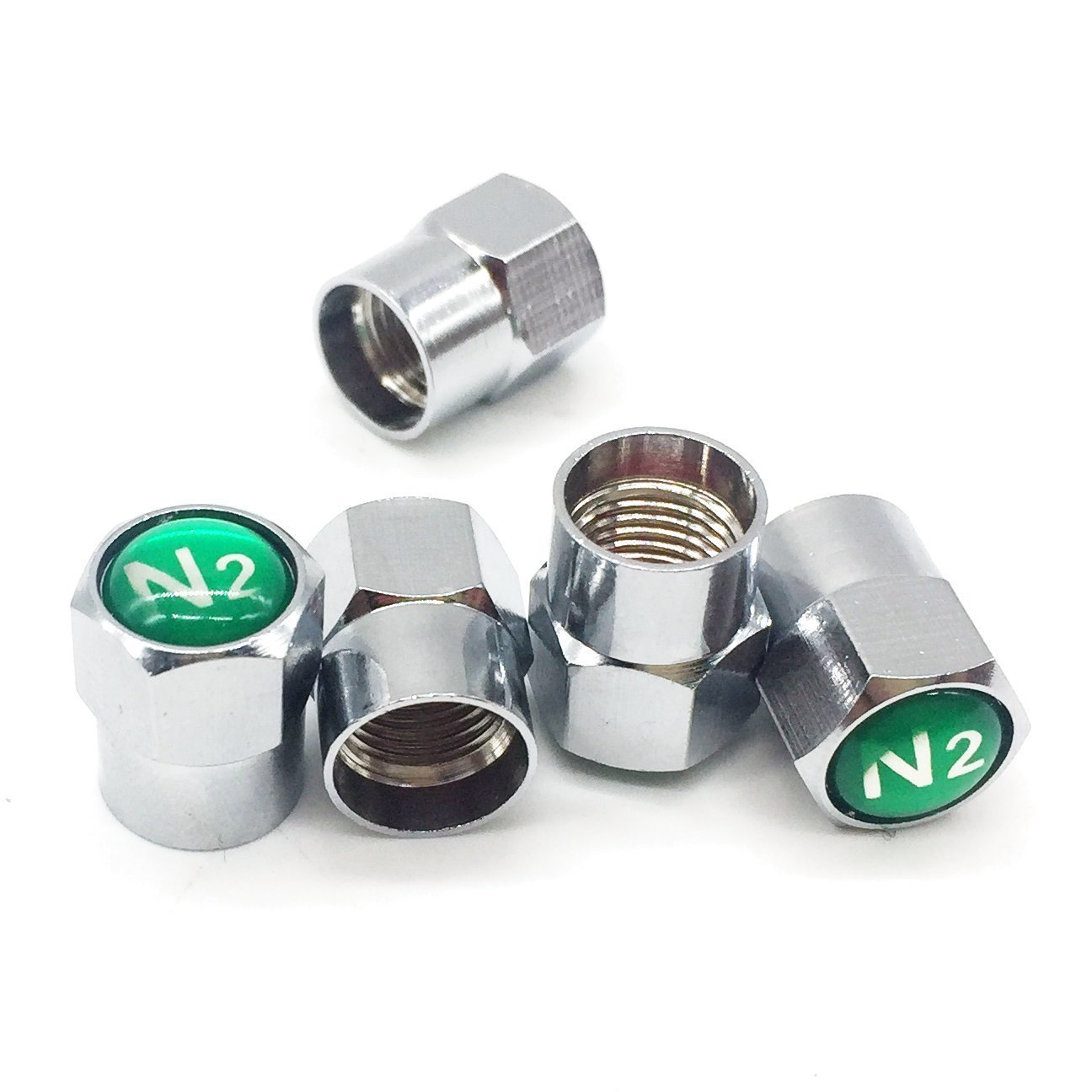 Godeson Chrome Plated Brass Tire Valve Stem Caps N2 Nitrogen Sign Logo on The Top, 5 pcs/Set (Additional 1pcs Spare). GD-BV01B