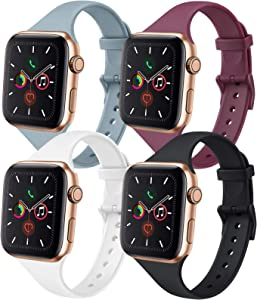 IEOVIEE [Pack 4] Silicone Slim Bands Compatible with Apple Watch Bands 42mm 38mm 44mm 40mm Series 6 5 4 3 & SE, Narrow Replacement Wristbands (Black/Wine Red/White/Gray, 42mm/44mm S/M)