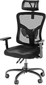 NOBLEWELL Ergonomic Office Chair High Back Mesh Computer Chair with Lumbar Support Adjustable Armrest, Backrest and Headrest,BIFMA Certified