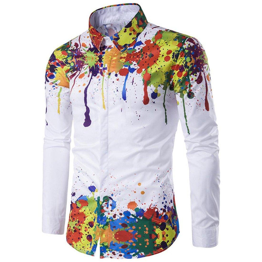 Shirt Herren Btruely Langarm Hemd Drucken Beilä ufig Bluse Ü bergrö ß e (XXL, Mehrfarbig)