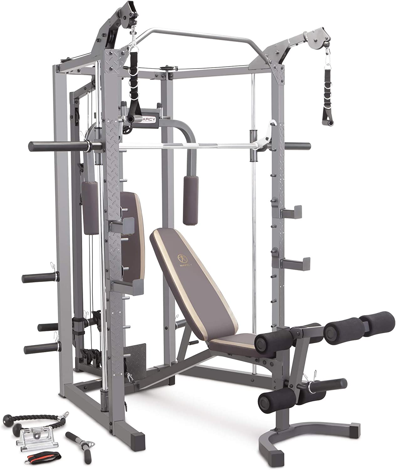 Amazon Com Marcy Smith Cage Machine With Workout Bench And Weight Bar Home Gym Equipment Sm 4008 Sports Outdoors