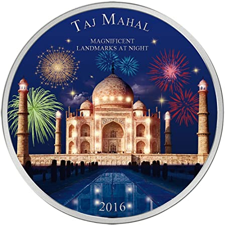 Power Coin Taj Mahal Landmarks At Night Ultraviolet 2 Oz Silber