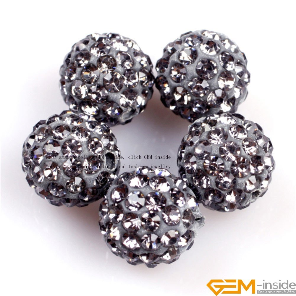 GEM-inside Lots Of Pave Shine Gray Grey Beads 10MM For Jewelry Making (10  Beads Per GEM-inside Lots) Clay Rhinestones CZ Crystal Pave Disco Ball  Beads for ... 0738d34b87da