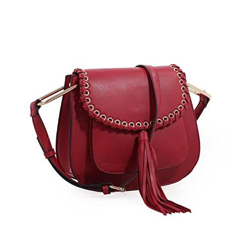 c95a2b1b4f6f Amazon.com  Heather Tassel Saddle Handbag (Red)  Clothing
