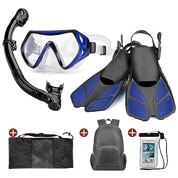 ODOLAND 6-en-1 Snorkel con máscara de Buceo con Vista Amplia, Dry