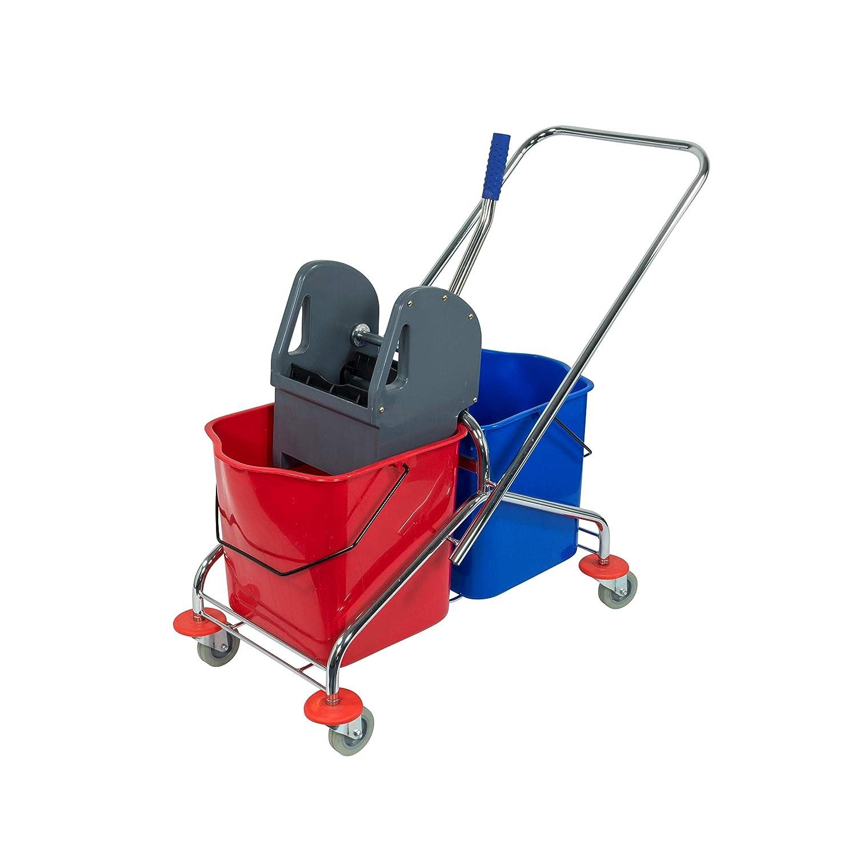 Sprintus Doppelfahreimer Chrom Doppelfahrwagen Reinigungswagen Wischwagen Putzwagen