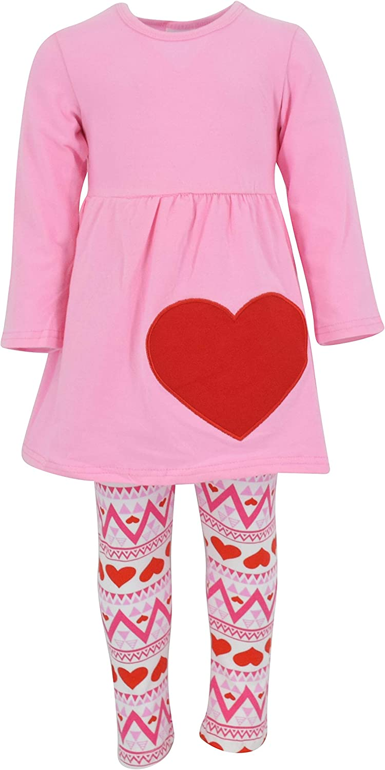 Girls 3 Piece Matching Pink Valentine/'s Day Heart Legging Set Outfit