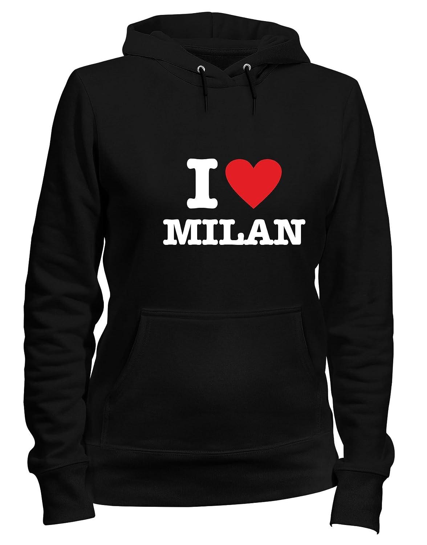 Felpa Donna Cappuccio Nero T0010 I Love Milan